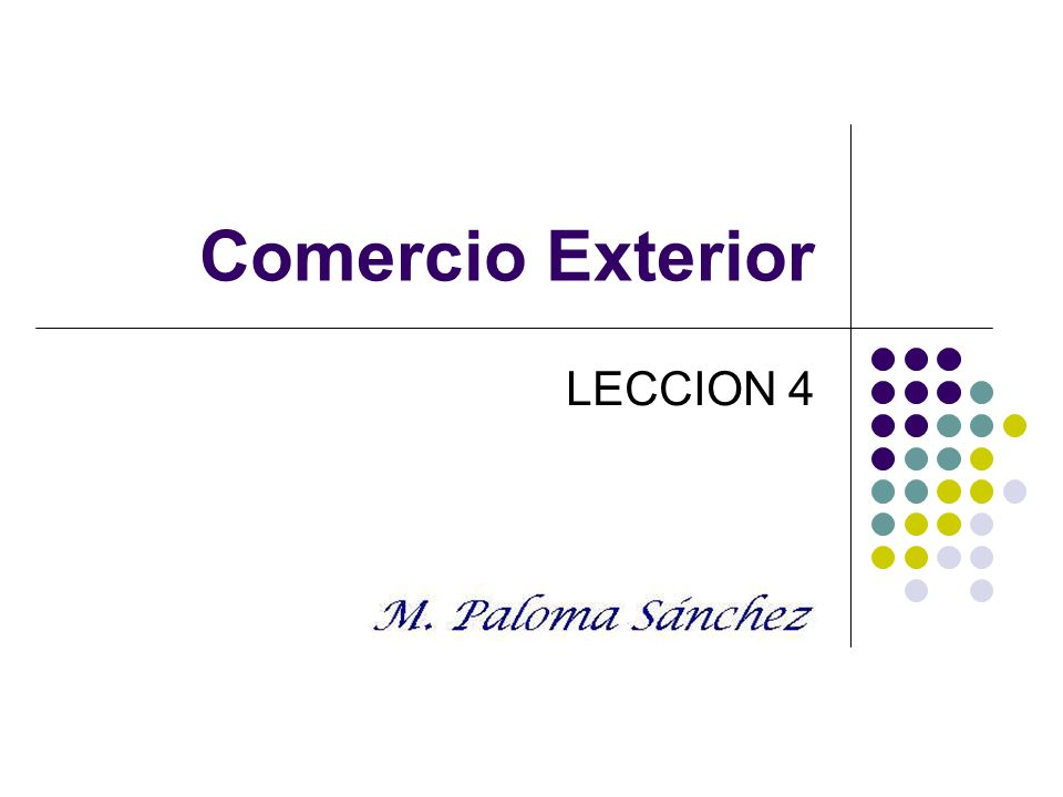 Comercio exterior. Prof. M. Paloma Sánchez LECCION 4