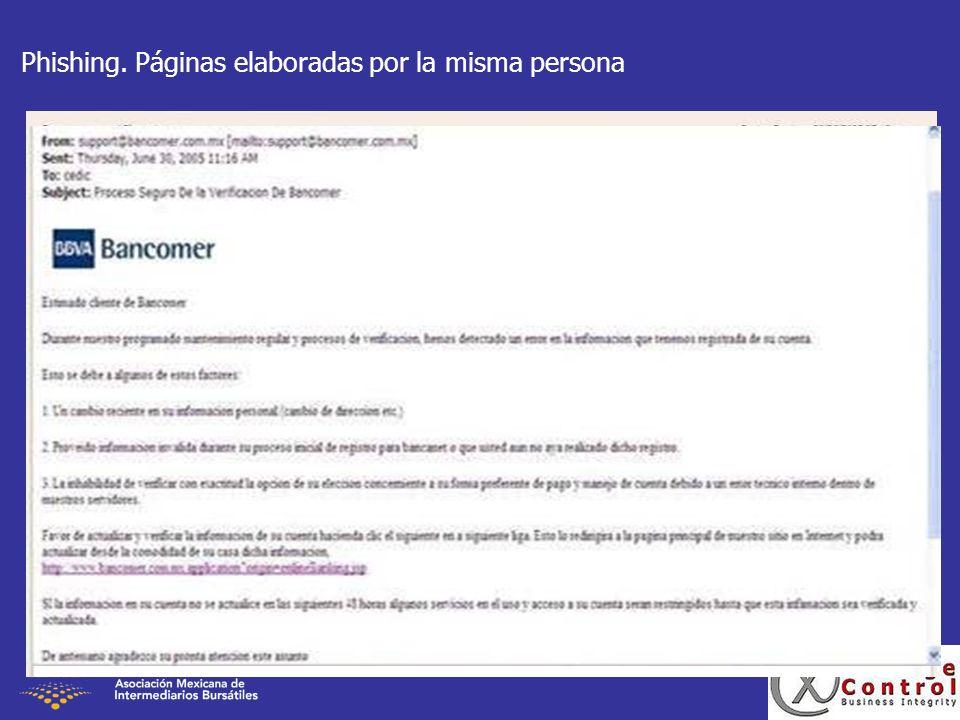 Phishing. Páginas elaboradas por la misma persona