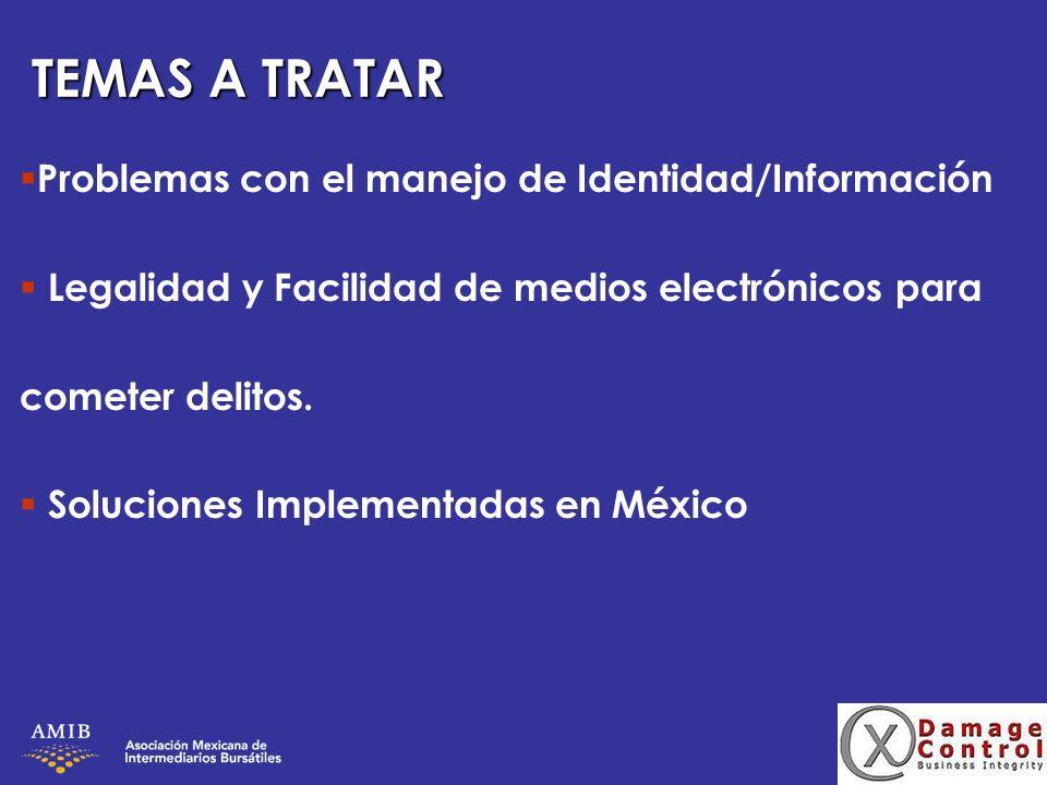 TEMAS A TRATAR Problemas con el manejo de Identidad/Información