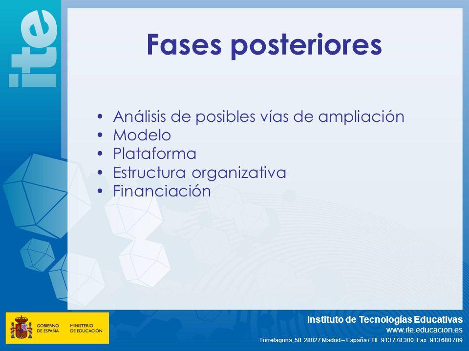 Fases posteriores Análisis de posibles vías de ampliación Modelo