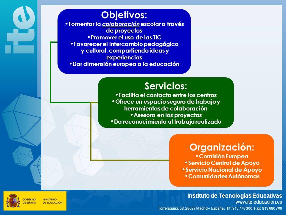 Objetivos: Servicios: Organización: