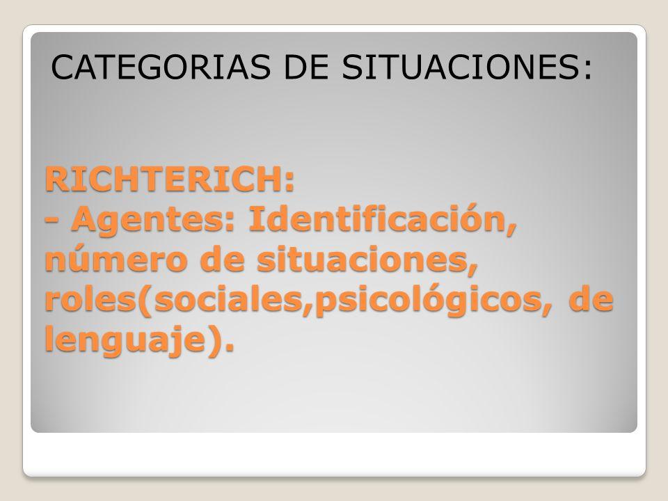 CATEGORIAS DE SITUACIONES: