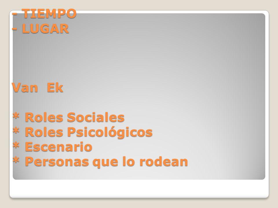 - TIEMPO - LUGAR Van Ek. Roles Sociales. Roles Psicológicos. Escenario