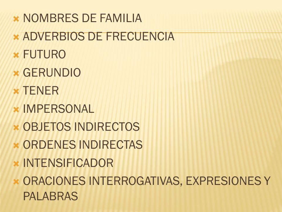 NOMBRES DE FAMILIA ADVERBIOS DE FRECUENCIA. FUTURO. GERUNDIO. TENER. IMPERSONAL. OBJETOS INDIRECTOS.