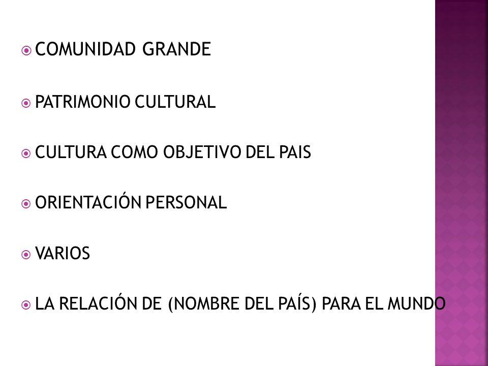 COMUNIDAD GRANDE PATRIMONIO CULTURAL CULTURA COMO OBJETIVO DEL PAIS