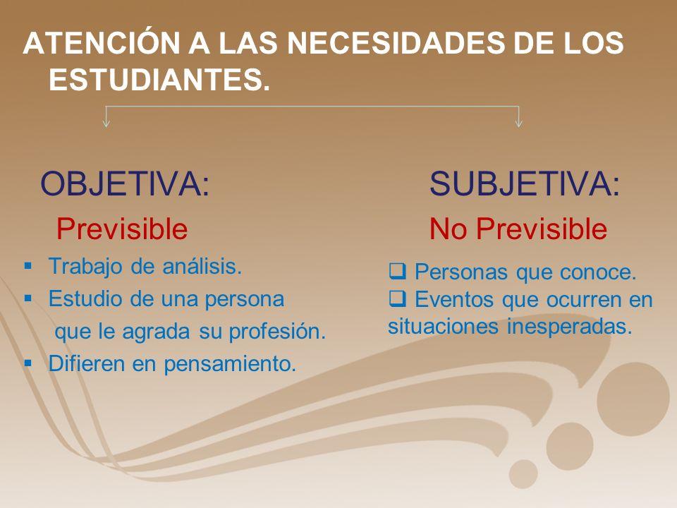 ATENCIÓN A LAS NECESIDADES DE LOS ESTUDIANTES.