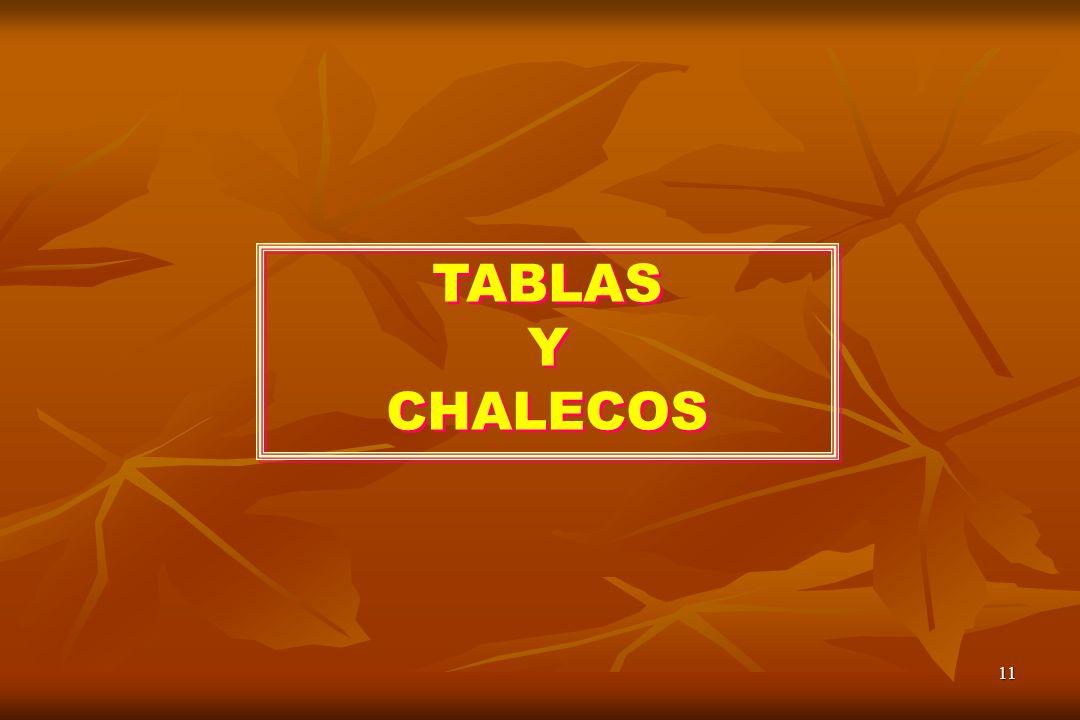 TABLAS Y CHALECOS