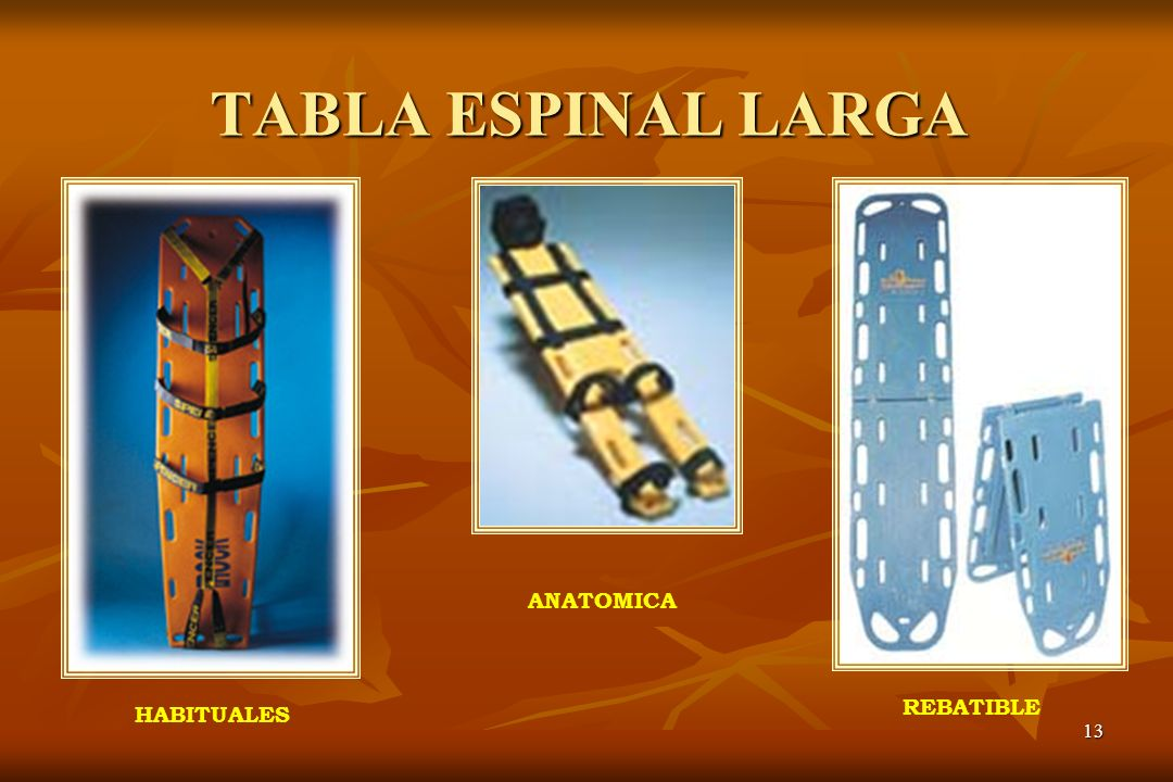 TABLA ESPINAL LARGA ANATOMICA REBATIBLE HABITUALES