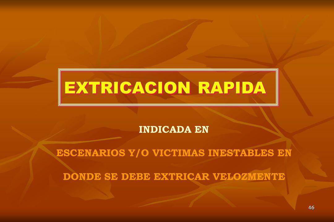 EXTRICACION RAPIDA INDICADA EN