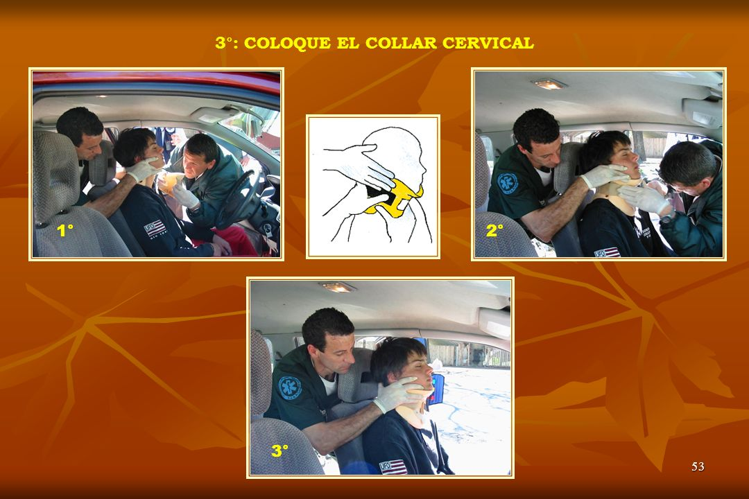 3°: COLOQUE EL COLLAR CERVICAL