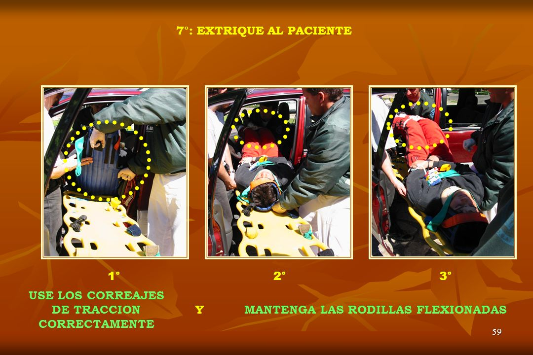 7°: EXTRIQUE AL PACIENTE MANTENGA LAS RODILLAS FLEXIONADAS