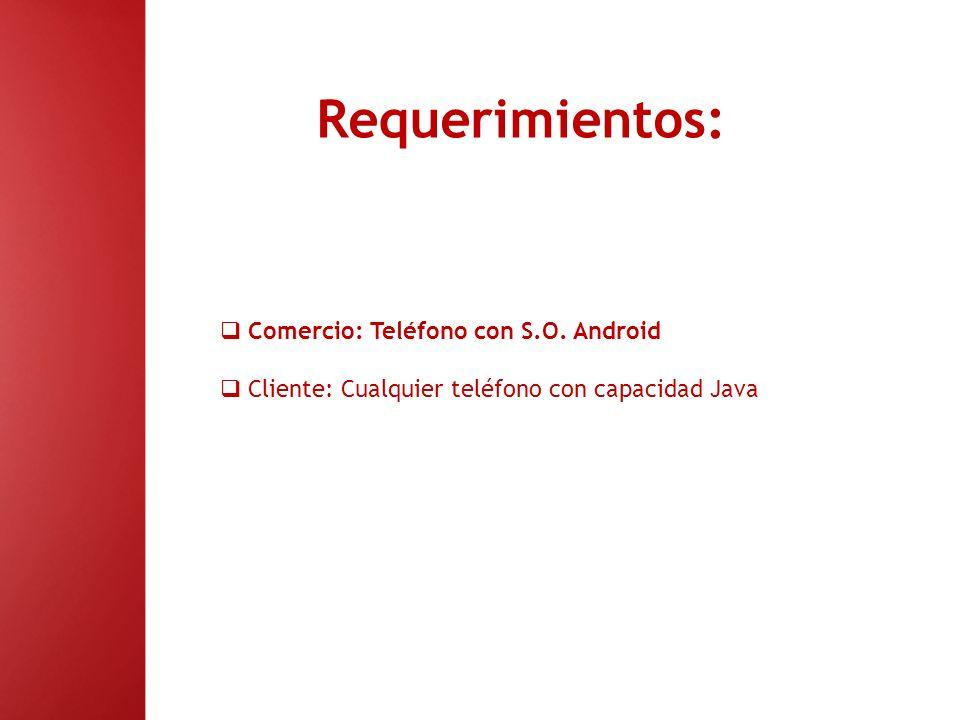 Requerimientos: Comercio: Teléfono con S.O. Android