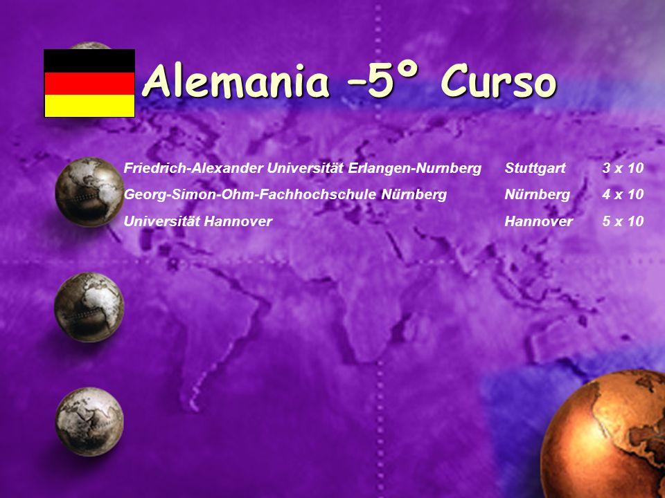 Alemania –5º Curso Friedrich-Alexander Universität Erlangen-Nurnberg Stuttgart 3 x 10. Georg-Simon-Ohm-Fachhochschule Nürnberg Nürnberg 4 x 10.