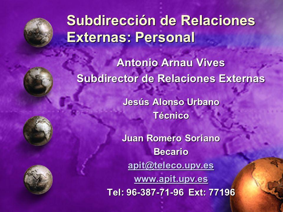 Subdirección de Relaciones Externas: Personal