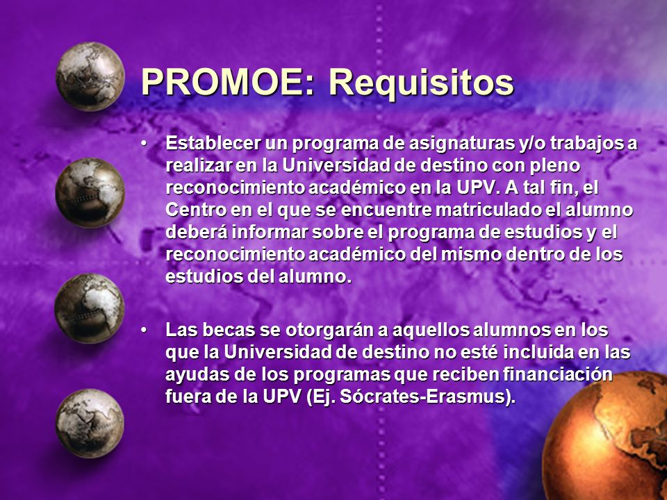 PROMOE: Requisitos