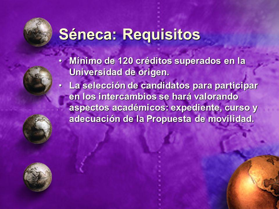 Séneca: Requisitos Mínimo de 120 créditos superados en la Universidad de origen.