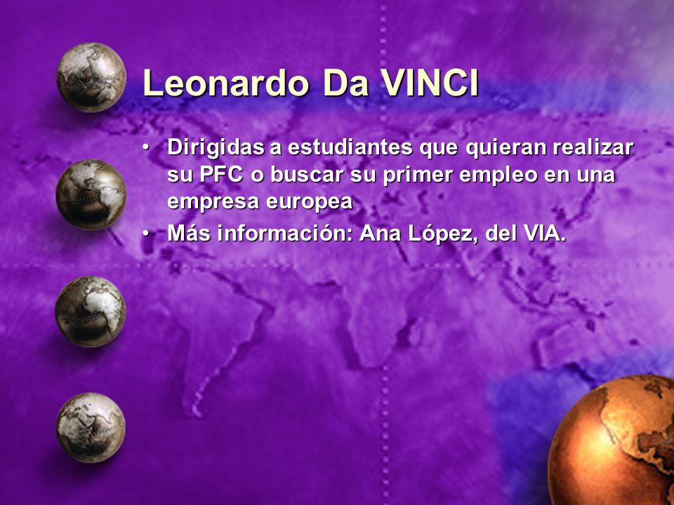 Leonardo Da VINCI Dirigidas a estudiantes que quieran realizar su PFC o buscar su primer empleo en una empresa europea.