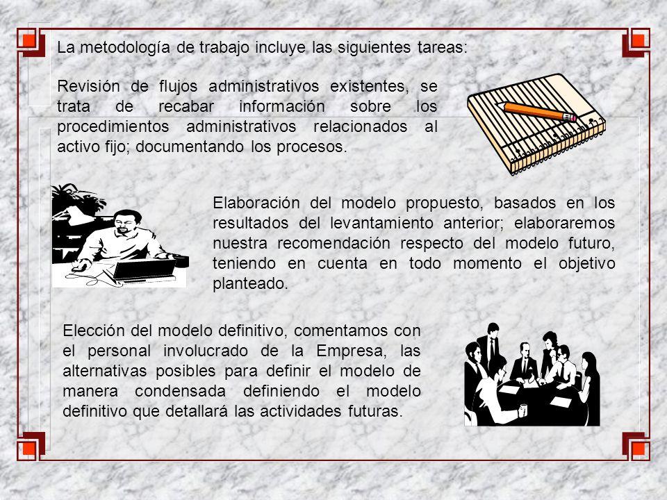 La metodología de trabajo incluye las siguientes tareas: