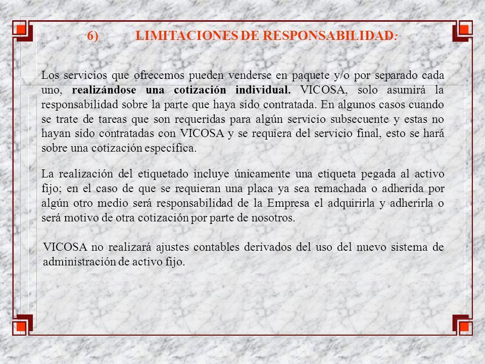 6) LIMITACIONES DE RESPONSABILIDAD: