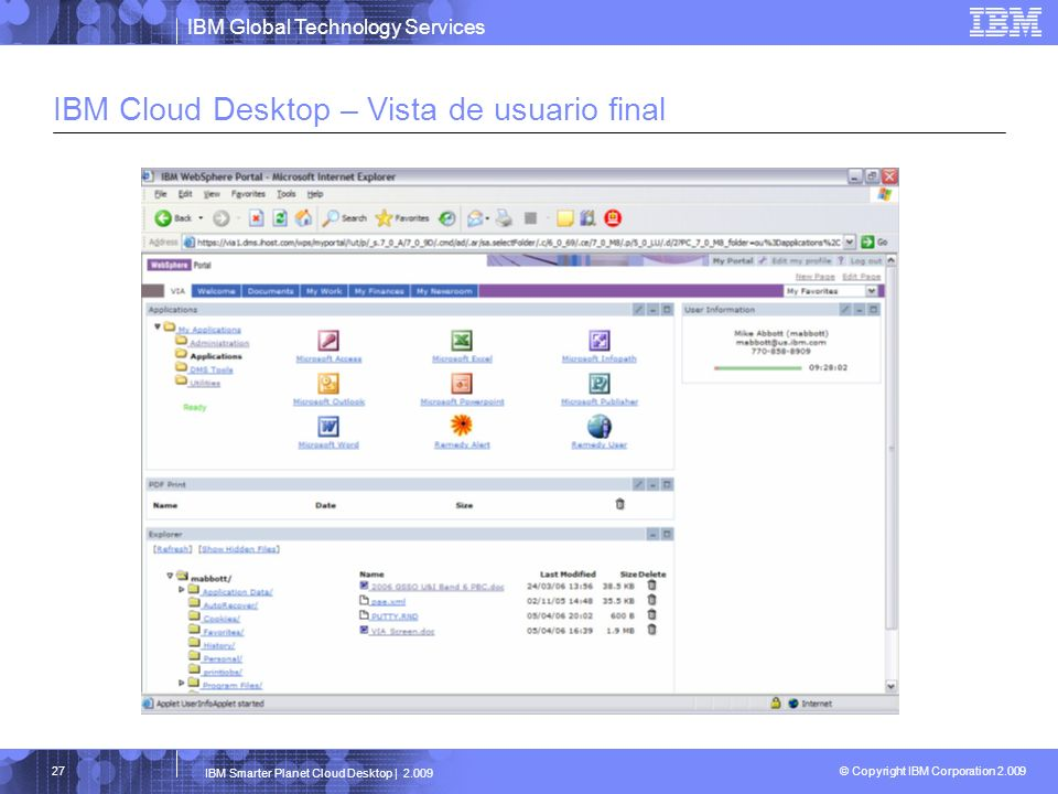 IBM Cloud Desktop – Vista de usuario final