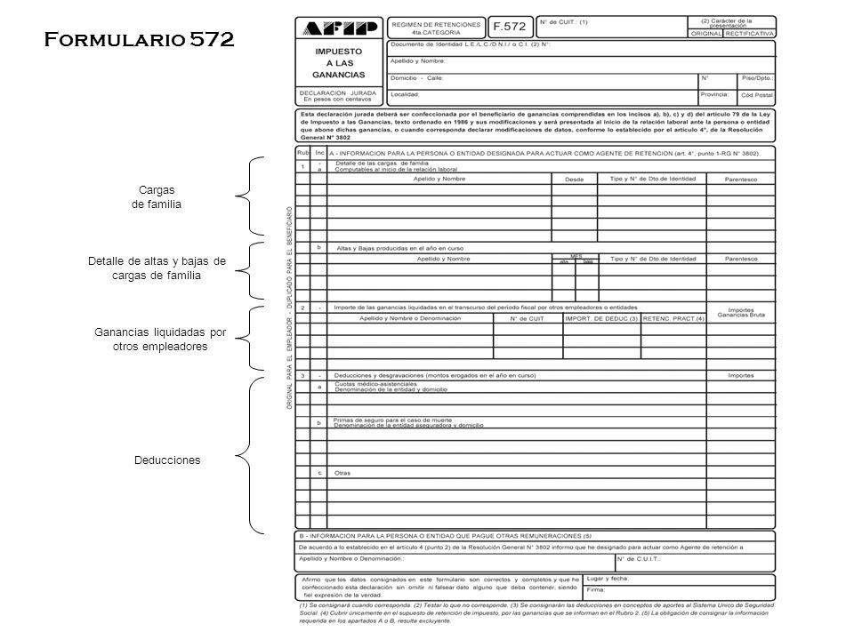Formulario 572 Cargas de familia