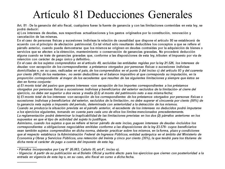 Artículo 81 Deducciones Generales