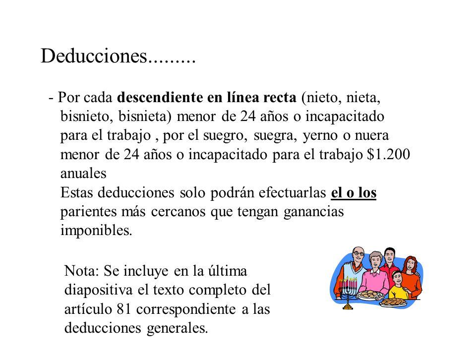 Deducciones......... - Por cada descendiente en línea recta (nieto, nieta, bisnieto, bisnieta) menor de 24 años o incapacitado.