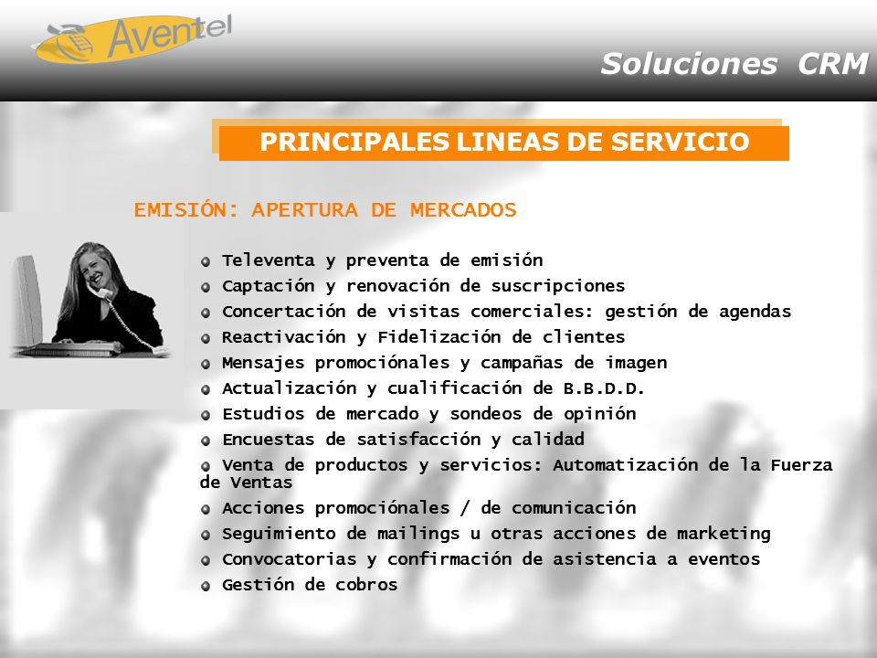 PRINCIPALES LINEAS DE SERVICIO