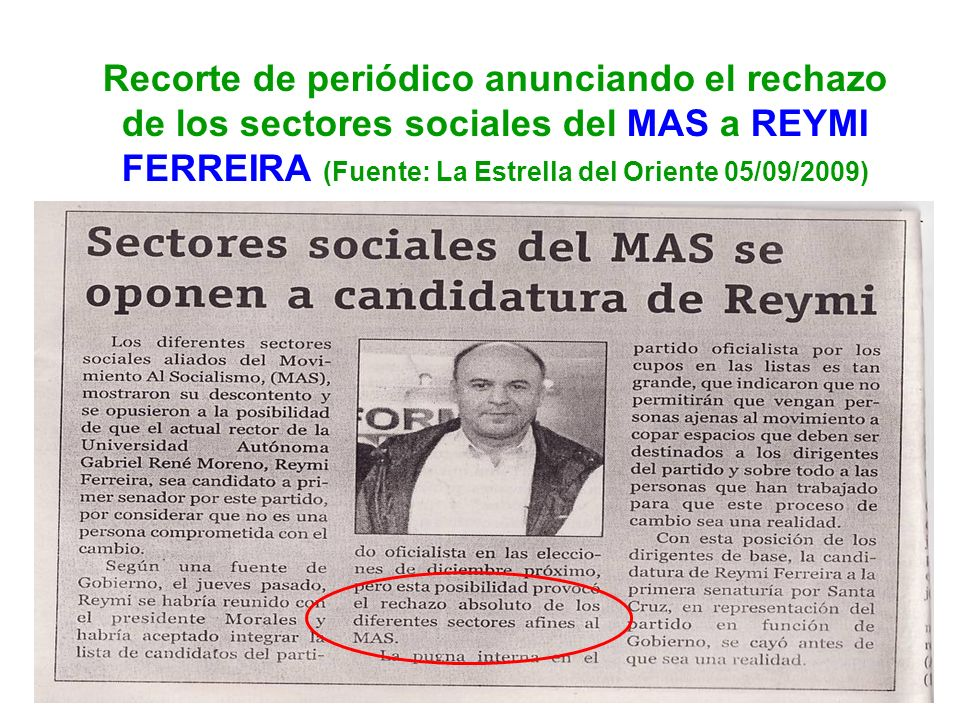 Recorte de periódico anunciando el rechazo de los sectores sociales del MAS a REYMI FERREIRA (Fuente: La Estrella del Oriente 05/09/2009)