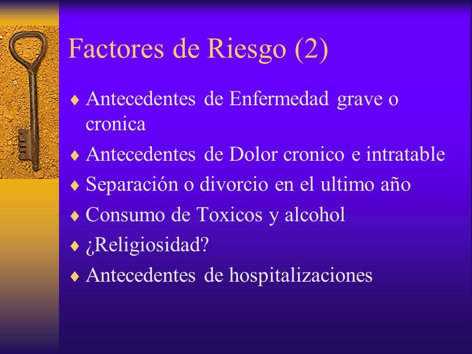 Factores de Riesgo (2) Antecedentes de Enfermedad grave o cronica