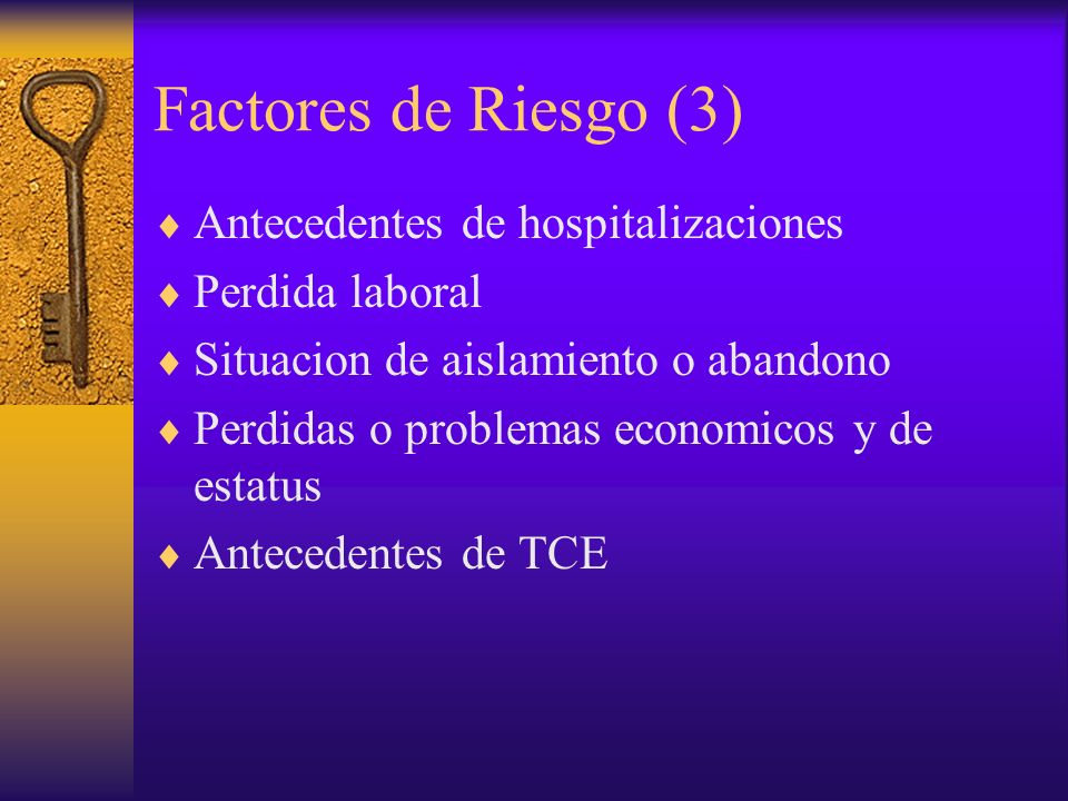 Factores de Riesgo (3) Antecedentes de hospitalizaciones