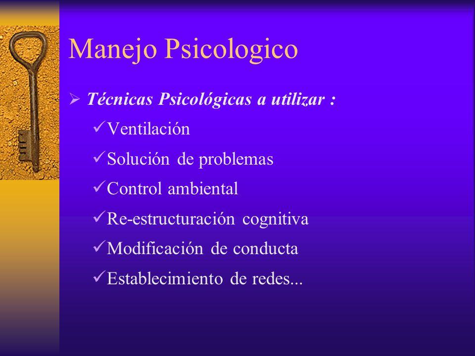 Manejo Psicologico Técnicas Psicológicas a utilizar : Ventilación