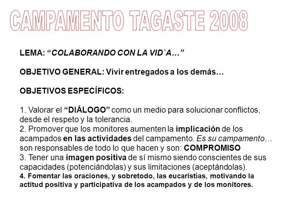 CAMPAMENTO TAGASTE 2008 LEMA: COLABORANDO CON LA VID`A…