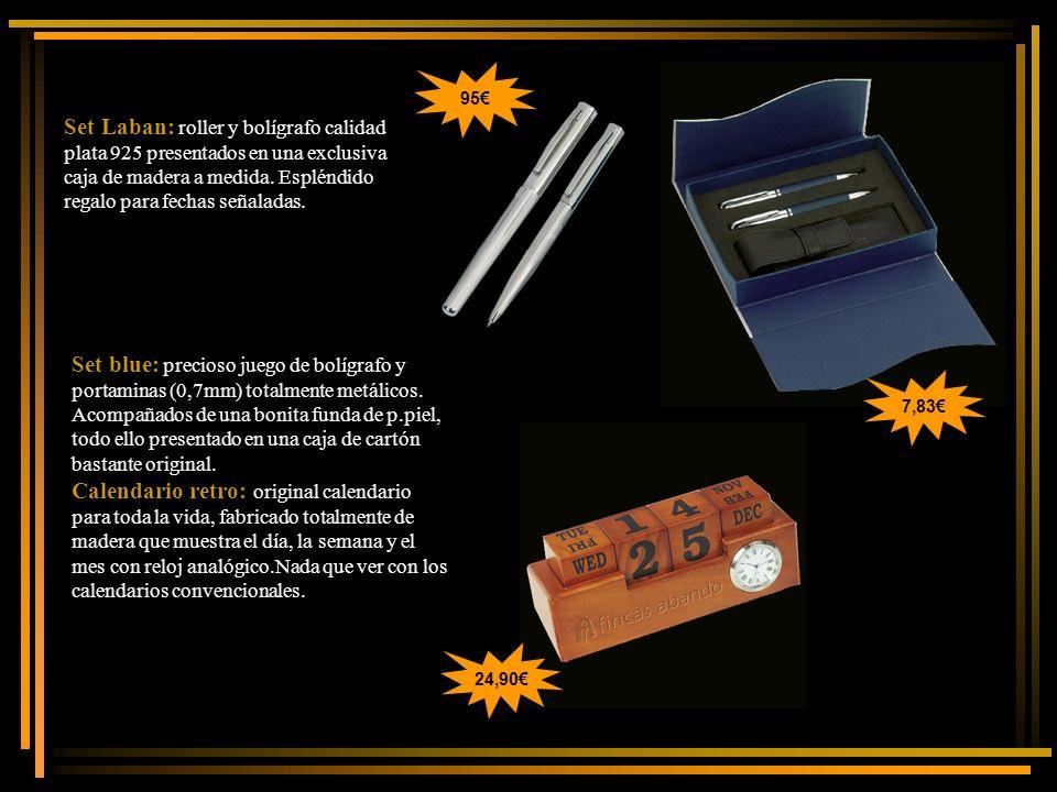 95€ Set Laban: roller y bolígrafo calidad plata 925 presentados en una exclusiva caja de madera a medida. Espléndido regalo para fechas señaladas.