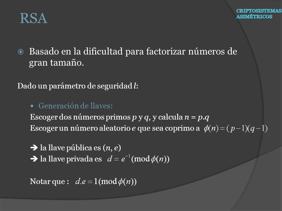 RSA Basado en la dificultad para factorizar números de gran tamaño.