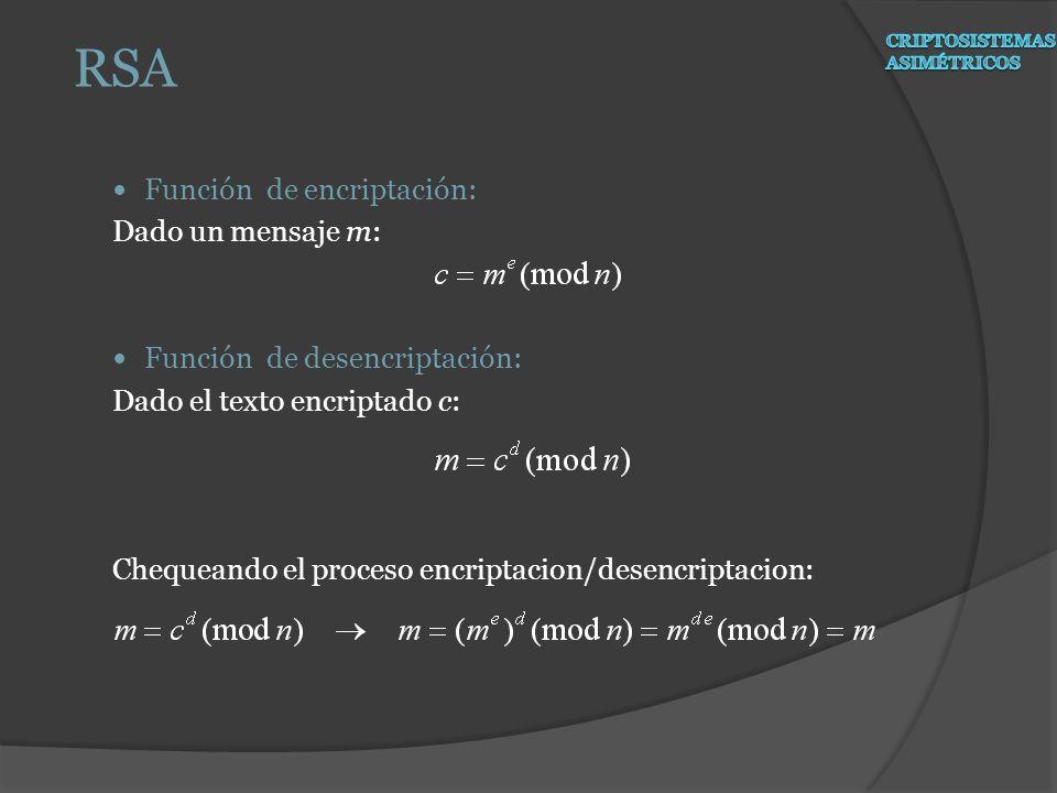 RSA Función de encriptación: Dado un mensaje m: