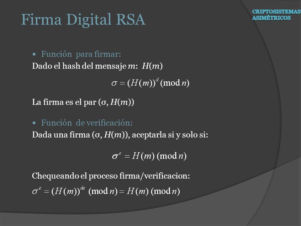Firma Digital RSA Función para firmar: