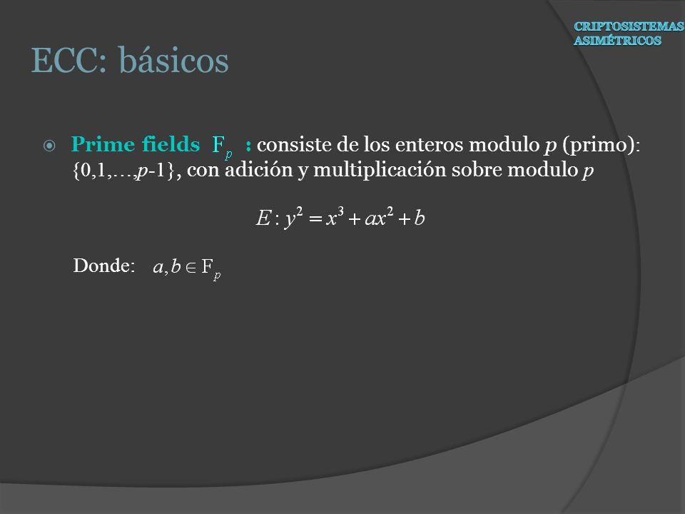 ECC: básicos Prime fields : consiste de los enteros modulo p (primo):