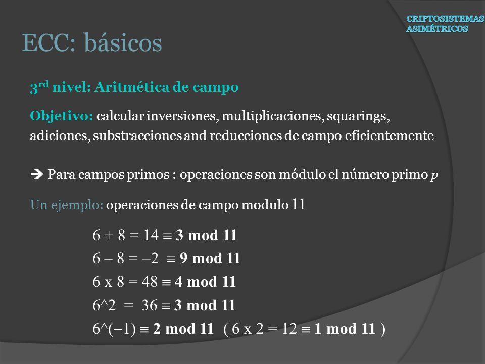 ECC: básicos 6 + 8 = 14  3 mod 11 6 – 8 = -2  9 mod 11