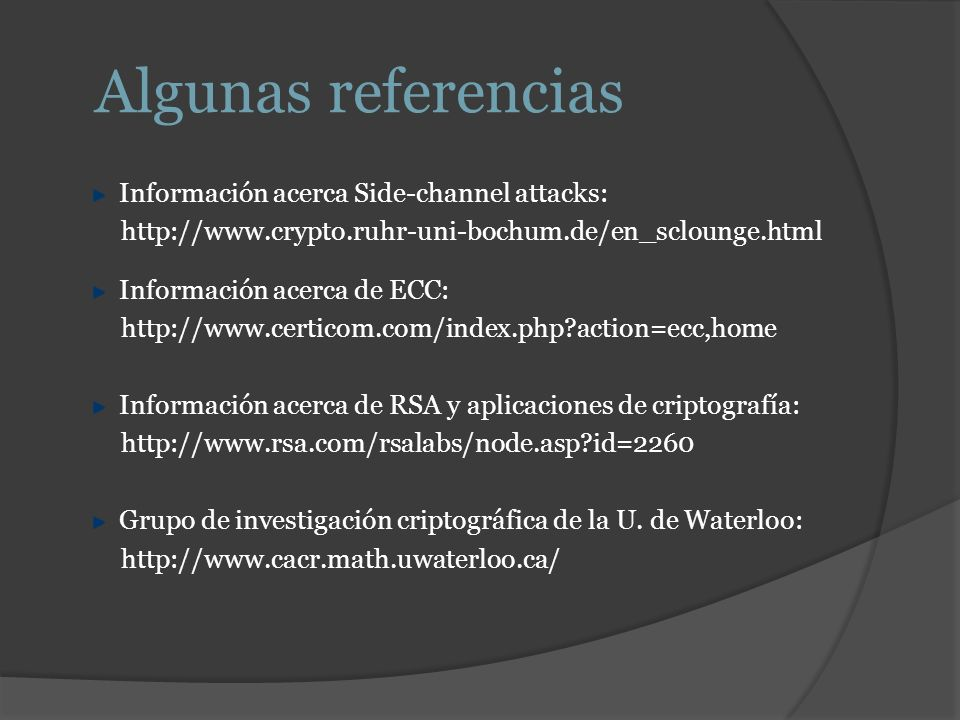 Algunas referencias Información acerca Side-channel attacks: