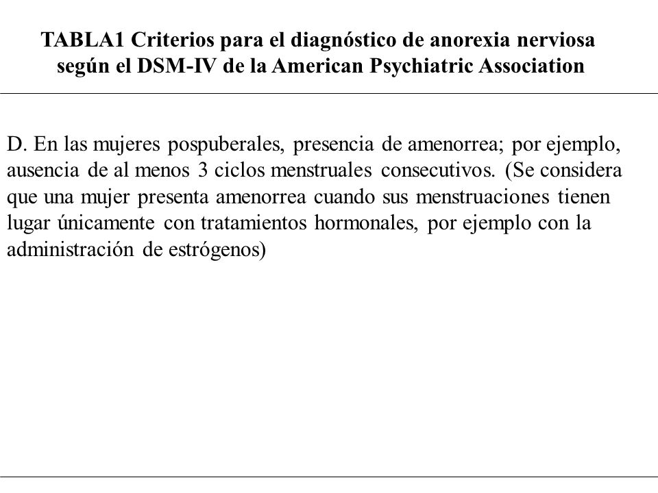TABLA1 Criterios para el diagnóstico de anorexia nerviosa