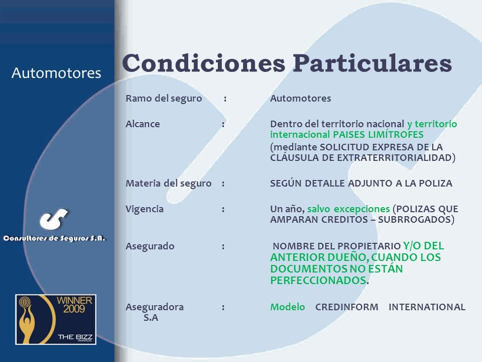 Condiciones Particulares