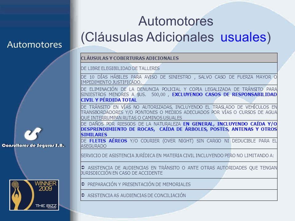 Automotores (Cláusulas Adicionales usuales)
