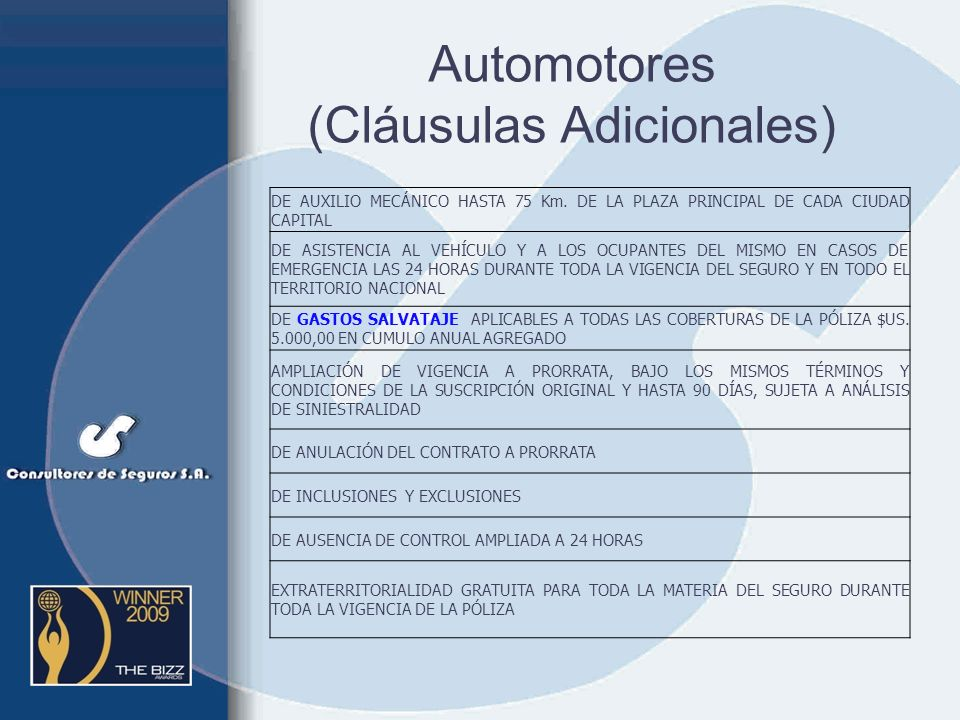 Automotores (Cláusulas Adicionales)