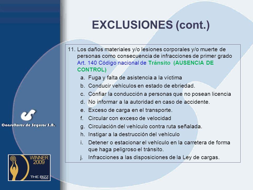 EXCLUSIONES (cont.)