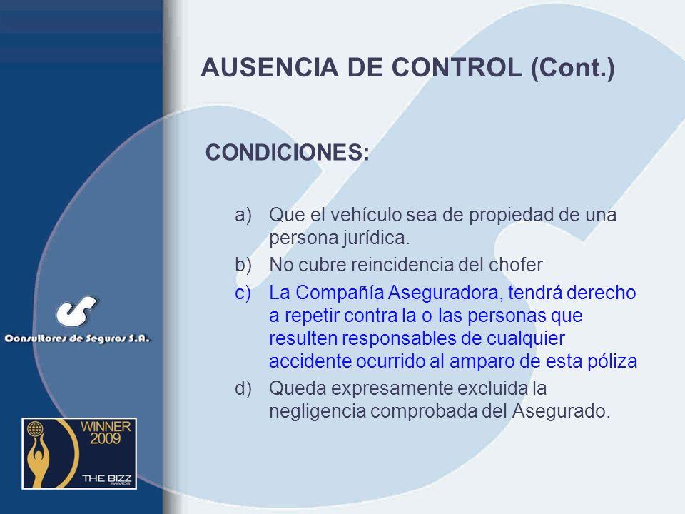 AUSENCIA DE CONTROL (Cont.)