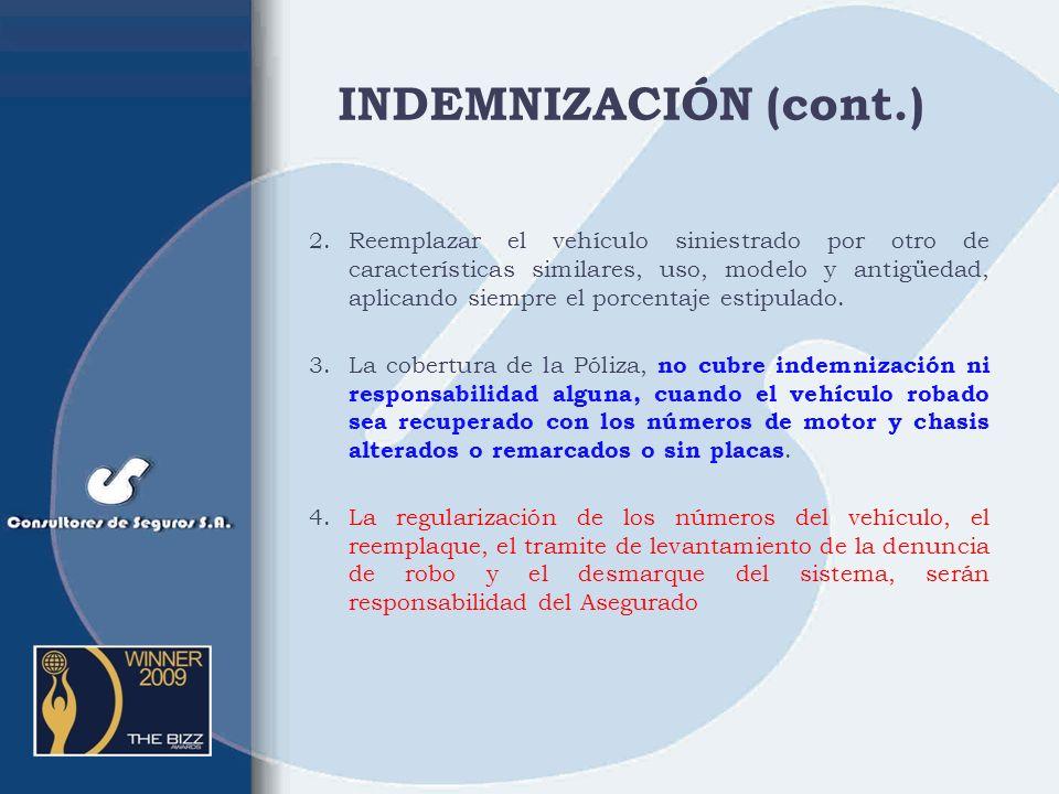 INDEMNIZACIÓN (cont.)