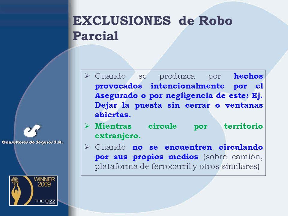 EXCLUSIONES de Robo Parcial