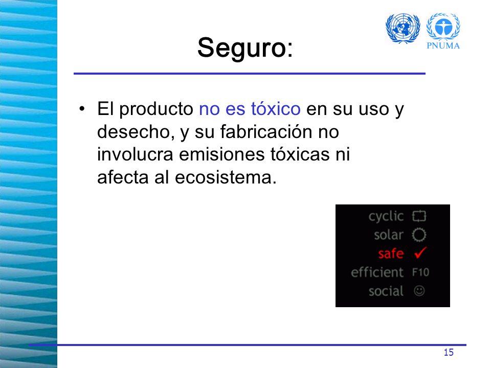 Seguro: El producto no es tóxico en su uso y desecho, y su fabricación no involucra emisiones tóxicas ni afecta al ecosistema.