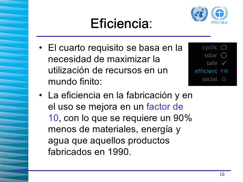 Eficiencia: El cuarto requisito se basa en la necesidad de maximizar la utilización de recursos en un mundo finito: